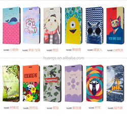 New arrival Custom printed cartoon leather pouch phone case leather cheap mobile phone case for iphone 6 made in china