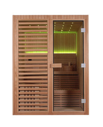 NEW indoor steam sauna with LED ceiling Harvia stove