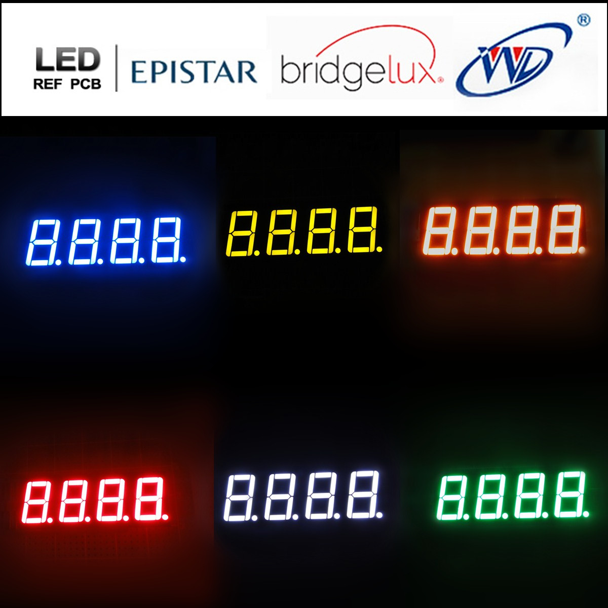 red/green/yellow/blue/amber/white 0.56 inch display 4 digits