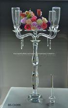La venta caliente! De altura 98cm doble- uso 5 brazos candelabro de cristal para la boda de centros de mesa( bs- ch066)