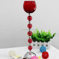wholesale cheap tall antique painted red hand blown long-stemmed lanterns glass votive candle holder