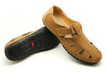 Cloesed punta para hombre de goma gruesa suela de cuero genuino los zapatos de la sandalia