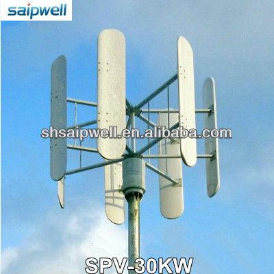 Ultimo 2013 asse verticale del vento generatore di turbina( lama curva) 30kw