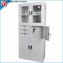 High quality glass door smart metal locker with 3 drawer and safe box inside for office use