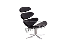 Corona chair with black real leather