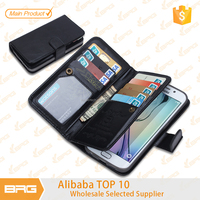 Luxury case For samsung galaxy s6 edge 9 card slot wallet / flip leather case for s6 edge