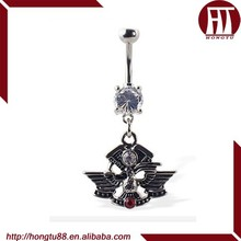 HT 316L Stainless Steel Navel Ring with Dangling Eagle Logo Belly Piercing Jewelry