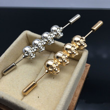 Skull - Death Skeleton Halloween - Stick Brooch Pin,Human Skull Ascot Stick Pin - Ascot Stick Pin in Silver Gold Tone