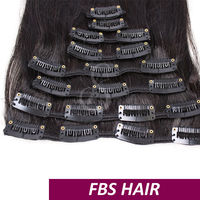 FBS easy to wear 20 clips straight grey color clip in hair extension