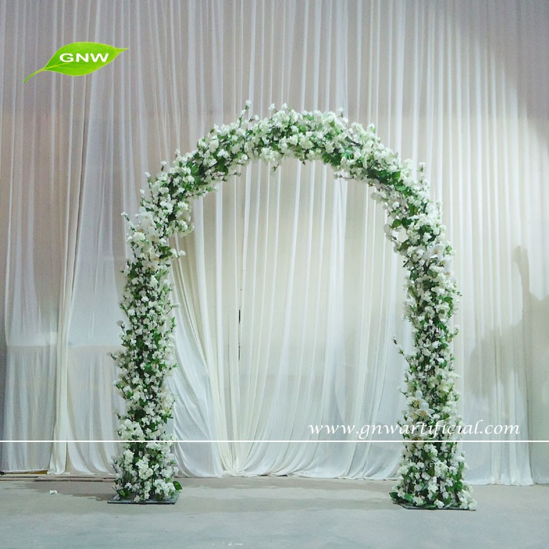 Gnw 8ft white metal wedding arch with cherry blossom flowers for fla1603004 cg mightylinksfo