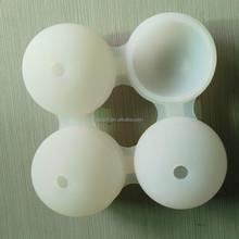 Fda FLGB de la categoría alimenticia respetuoso del medio ambiente 4 agujeros king size helado del silicón del fabricante del molde bola de hielo
