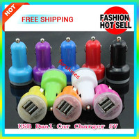 Colorful Dual USB 2.0 2 Port Mini Car Charger Dual USB Port 2.1A 1A Auto Power Adapter for iphone 6 Samsung S5 HTC Blackberry