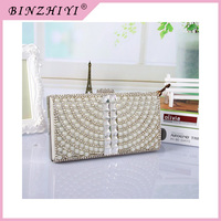 2015 Trendy design Famous brand beaded chain clutch bag