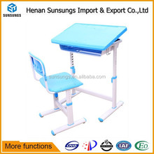 Plastic school furniture /kids table and chair with adjustable height