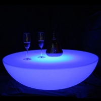 D92cm Remote control LED coffee and cocktail table / illuminated LED light up table