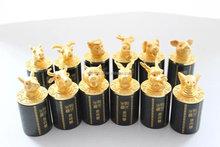 Chinese Twelve Animal Zodiac 24K Gold Plating Seal /jade seal crafts