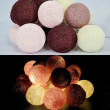 Burgundy Cotton Balls String Lights/Fairy Handmade For Home Decoration/Lighting, Holiday, Party, Wedding, Christmas/Xmas, Gift