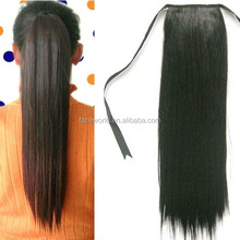 Machine double weft 100% human hair best selling little girls ponytail hair extensions
