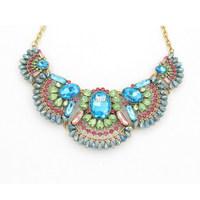 Fan Shape Fashion Big Colorful Crystal Statement Necklace