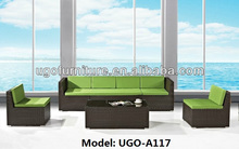 Deman greece beach white rattan sofa rattan Furniture Outdoor pool Wicker sofa UGO-A117