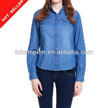 2014 china denim fábrica de ropa nueva del modelo Búsquedas diseños de camisetas para las mujeres
