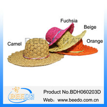 2015 new girls paper string straw hat with paper string bowknot