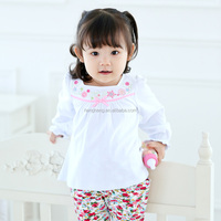 10286 girl baby frock design pure colour top baby smocked top