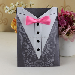 Low Price Bride Dress 2015 New Design Wedding Cards with Blue Ribbon