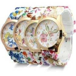 Soft Touch Floral Print geneva flower watch Gold Tone Case Fashion Watch