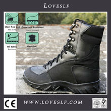 2014 loveslf cuero de grano completo de suela de goma botas militares