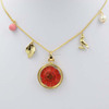 Alloy necklace wholesale dongguan red real flower necklace