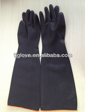 long sleeve black industrial latex glove/made in china
