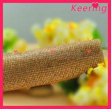 new custom design fashion gold crystal iron on rhinestone mesh wholesale WRT-013