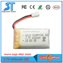 Wild scorpion OEM/ODM high density rechargeable 600mAh custom lipo battery