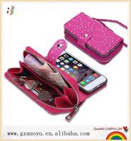 belt flip 5.5 inch wallet phone case, flip mobile phone wallet case for iphone 6 plus