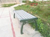 Outdoor wooden garden bench with metal bench frame