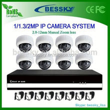 8ch complete full hd 1080p IP camera cctv system design,onvif ip camera speaker microphone system