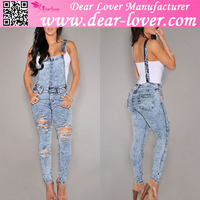 New style fashion sexy women stone wash denim destroyed fitted overall