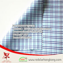 hot sale 100% cotton long stapled blue and cyan check fabric