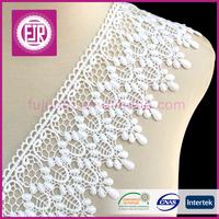 2016 New fashion factory price wholesale 9cm white bulk decorative guipure embroidered trimming 100% cotton lace