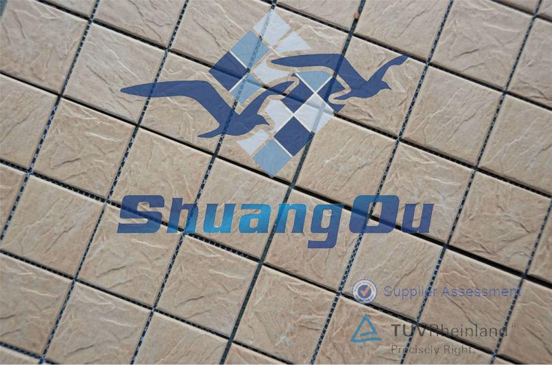 Banheiro mosaico cer mico 73 x 73 3 x 3 r stico for Mosaico ceramico exterior