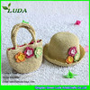 LUDA Crocheted Straw Beach Sets Cute Kids' Straw Hat and Bag