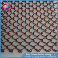 Hanging Golden color in restaurant chain link room divider / divider curtains