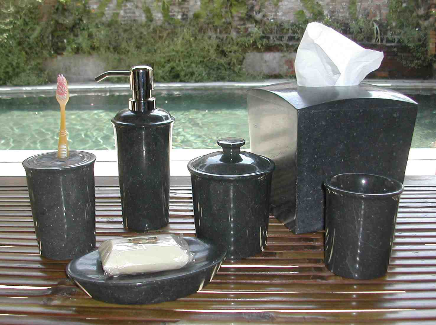 Black marble bathroom accessories buy bath sets product for Marble bathroom accessories