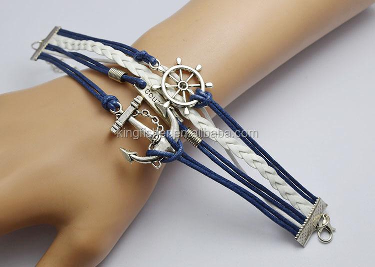 Nueva joyería hecha a mano del abrigo de la cuerda de cuero azul marino de  anclaje