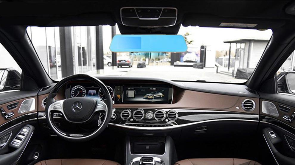 Nouveau bleu rétroviseur voiture Dvr double objectif avec 4.3 polegada Display G - capteur