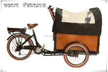 CE front loading Danish bakfiet pedal assisted electric cargo bicycle tricycle factory