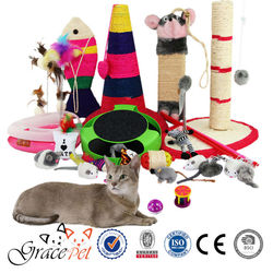 Interactive plastic cat toy with ball / cat toy supply