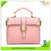 high quality hot sales long strap pink color fashion PU shoulder bag for women