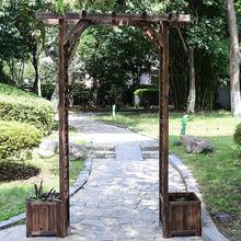 Wooden garden arbor & garpe trellis